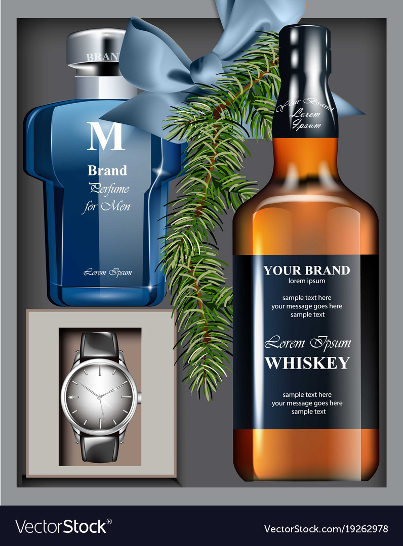 Men Perfume And Watch Gift Set Realistic Vector Image
