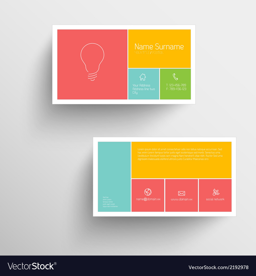 Modern business card template with flat mobile vector image accmission