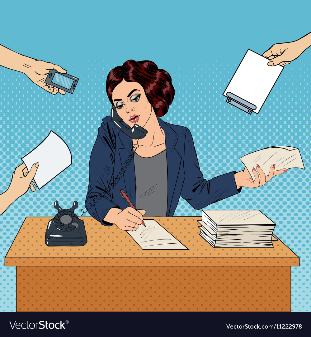 home office multitasking. Pop Art Multitasking Busy Business Woman At Office Vector Image Home