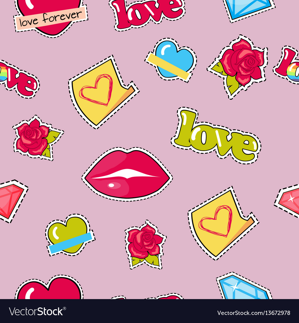 Seamless pattern with lips roses hearts diamond