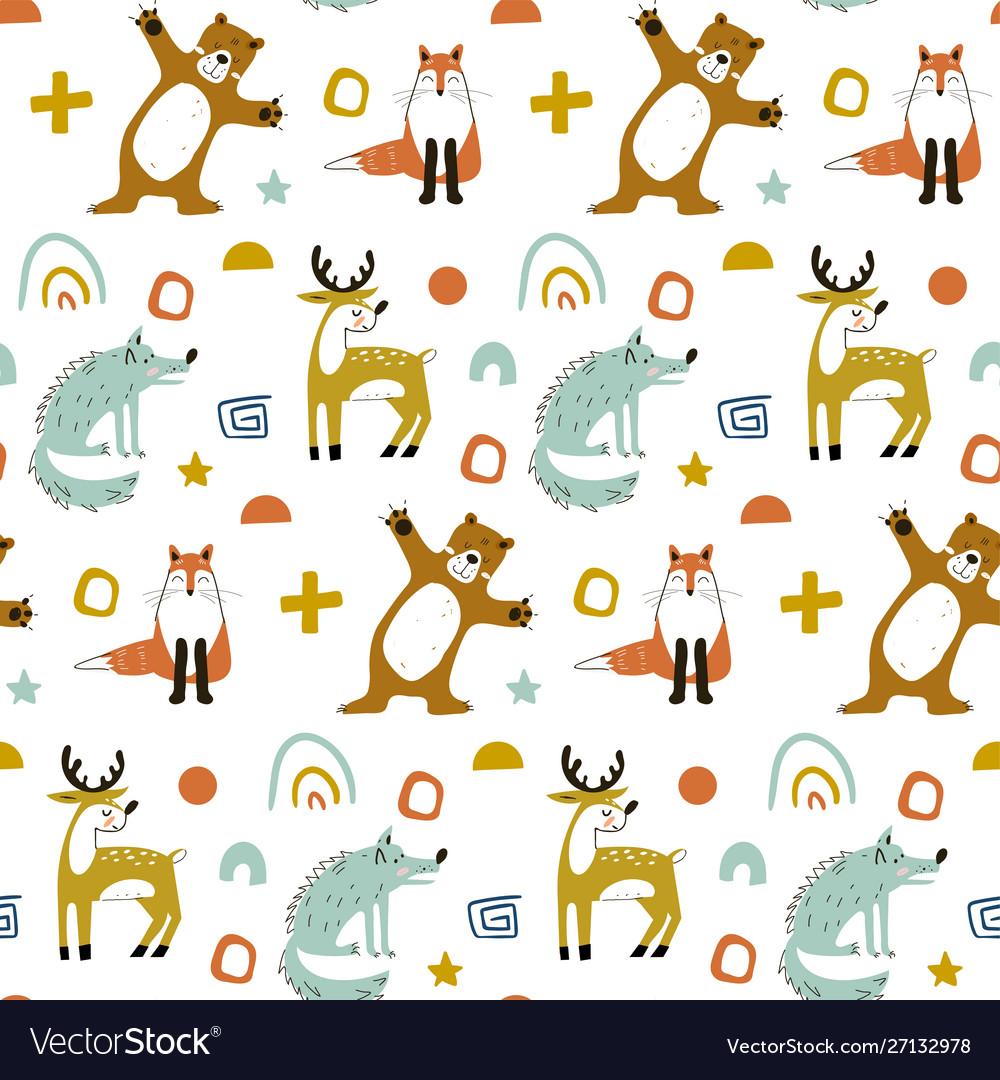 Seamless woodland pattern with cute bear fox