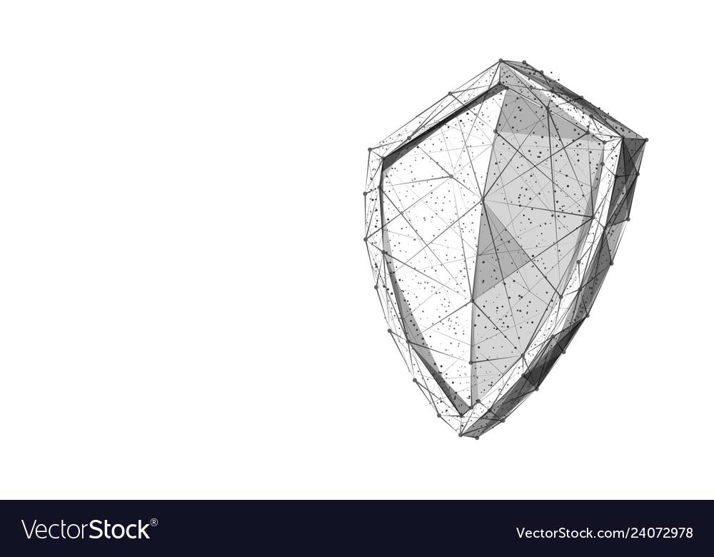 Shield black on white low-poly