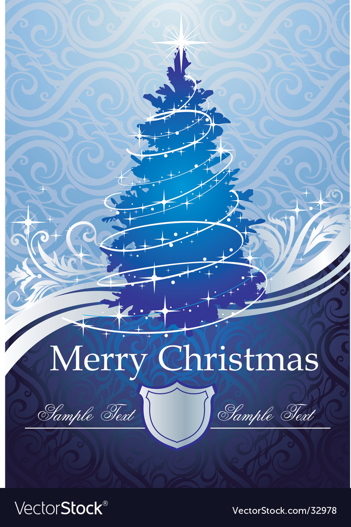 silver blue christmas tree vector image - Silver And Blue Christmas Tree