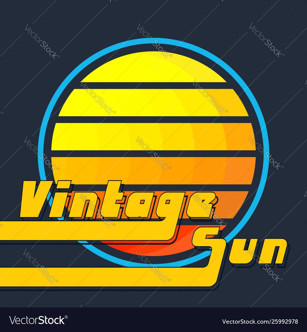 Vintage sun with yellow-orange stripes retro