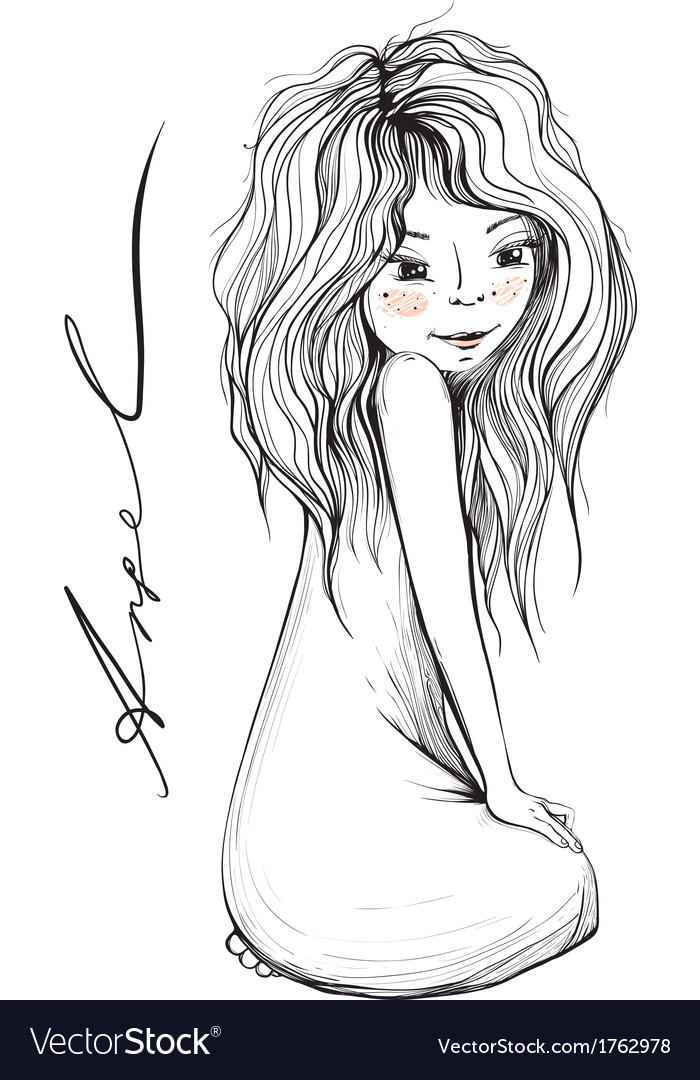 Young Girl with Long Hair Inky Drawing vector image