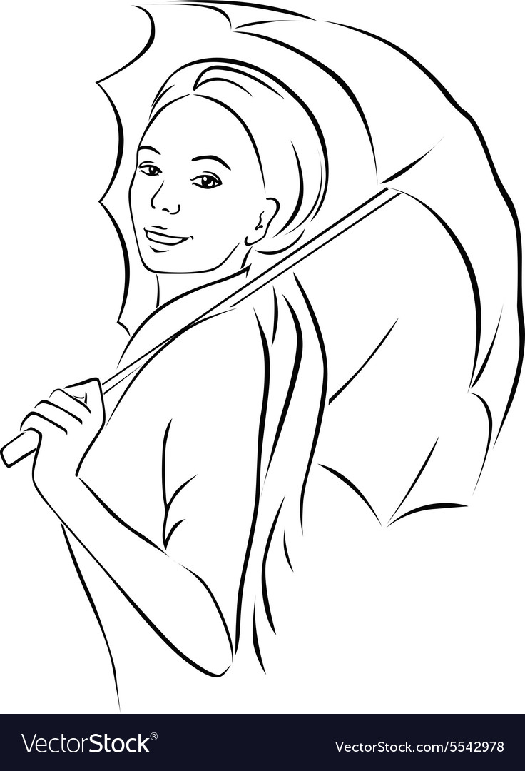 Young woman with parasol - black outline