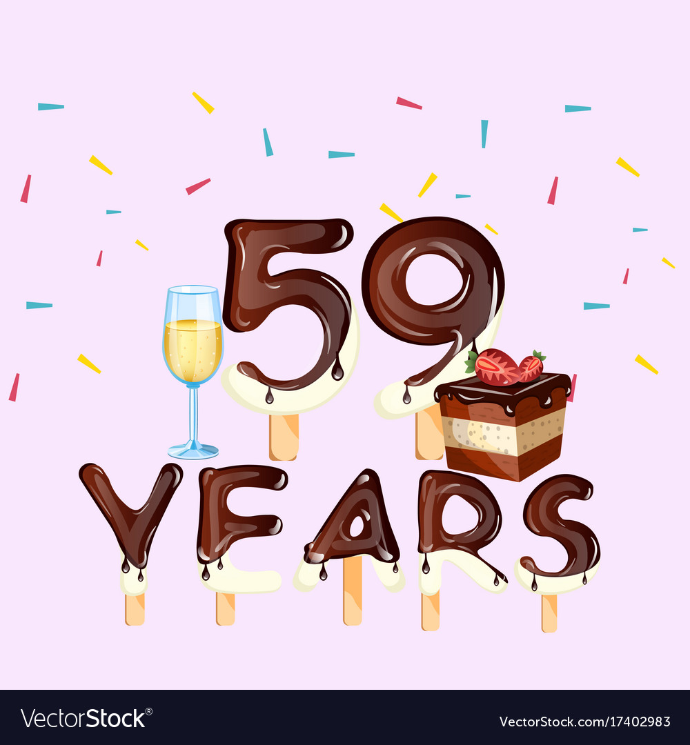 59th years happy birthday card vector image