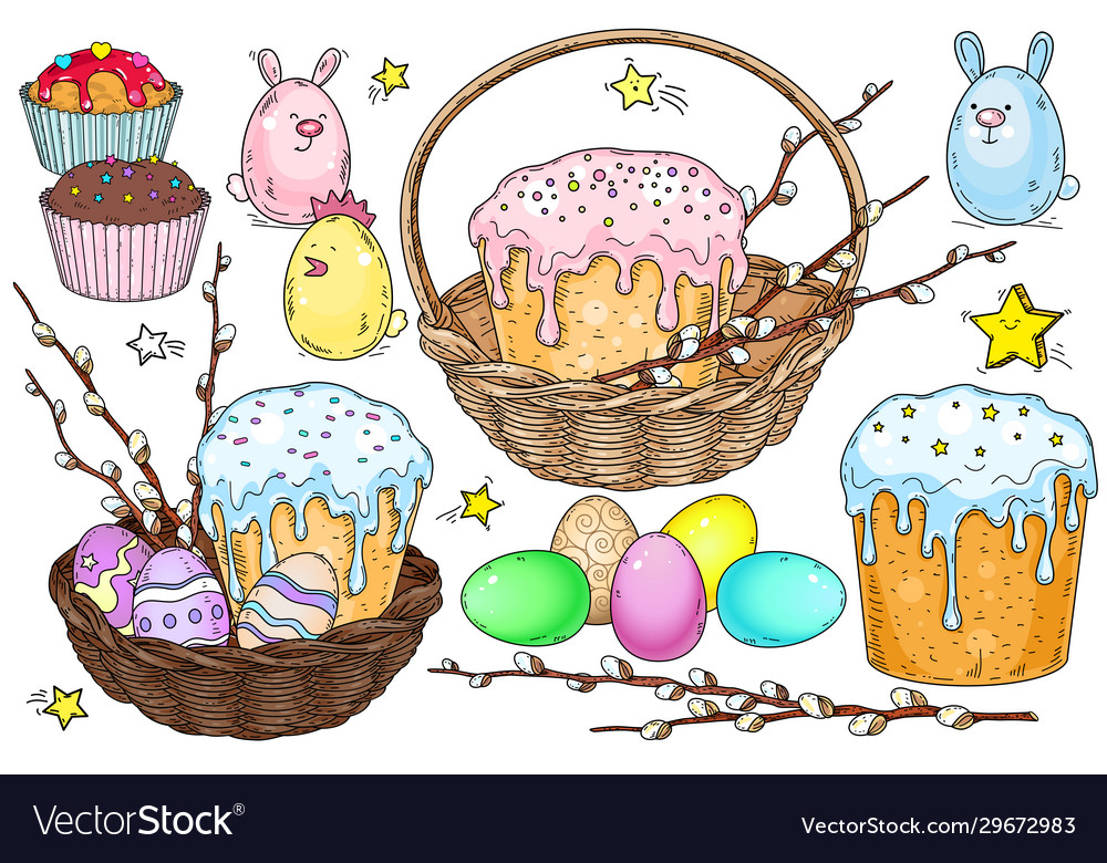 Basket with cake and easter