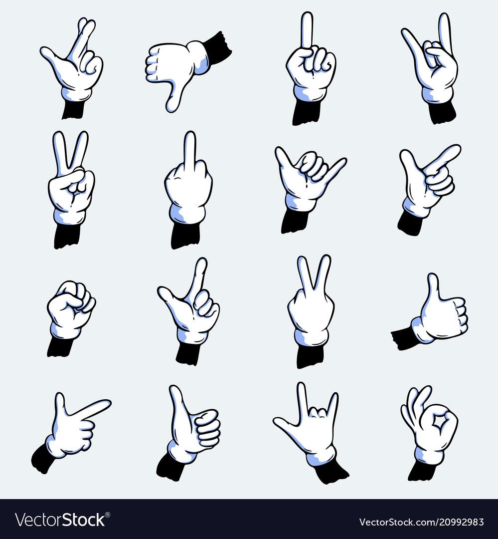 Cartoon gloved hands set