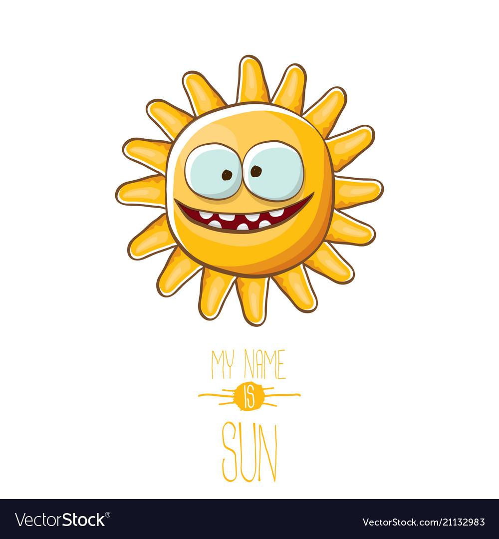 Funky cartoon style summer sun character