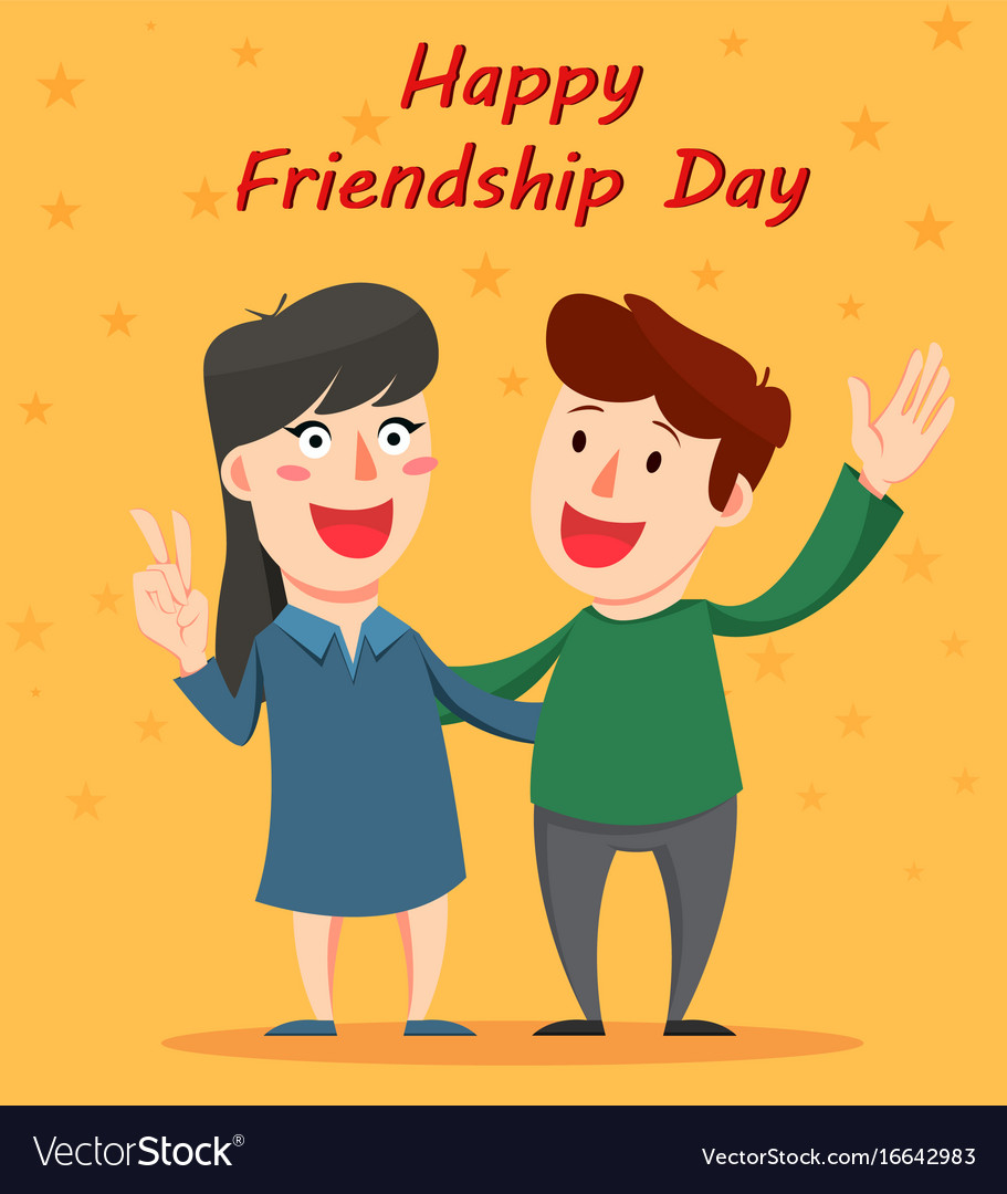 Happy friendship day greeting card friends vector image