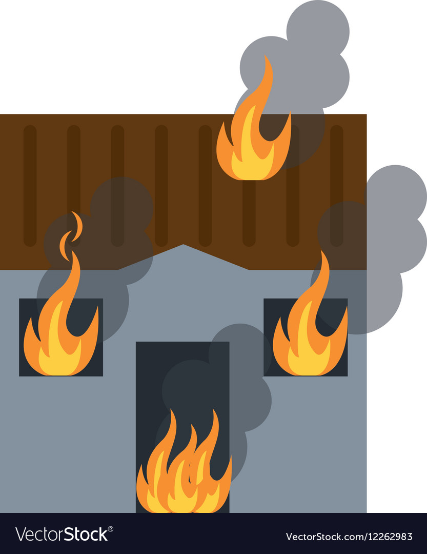 House fire bursts windows roof vector image
