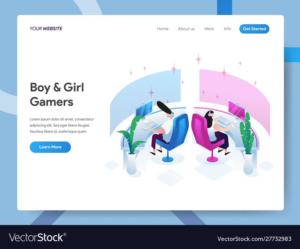 Landing page template boy and girl gamers