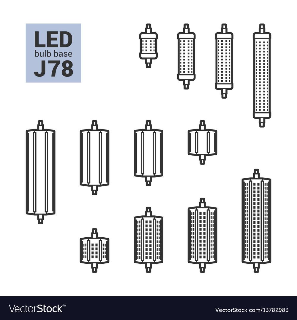 Led light j78 bulbs outline icon set