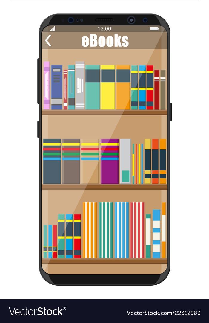 Smartphone and book shelf