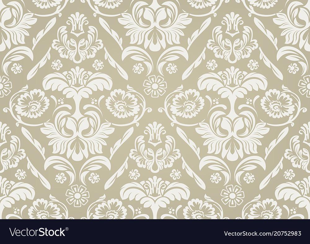 Wallpaper with white damask pattern