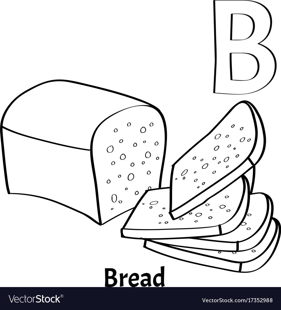 Alphabet letter b coloring page bread Royalty Free Vector
