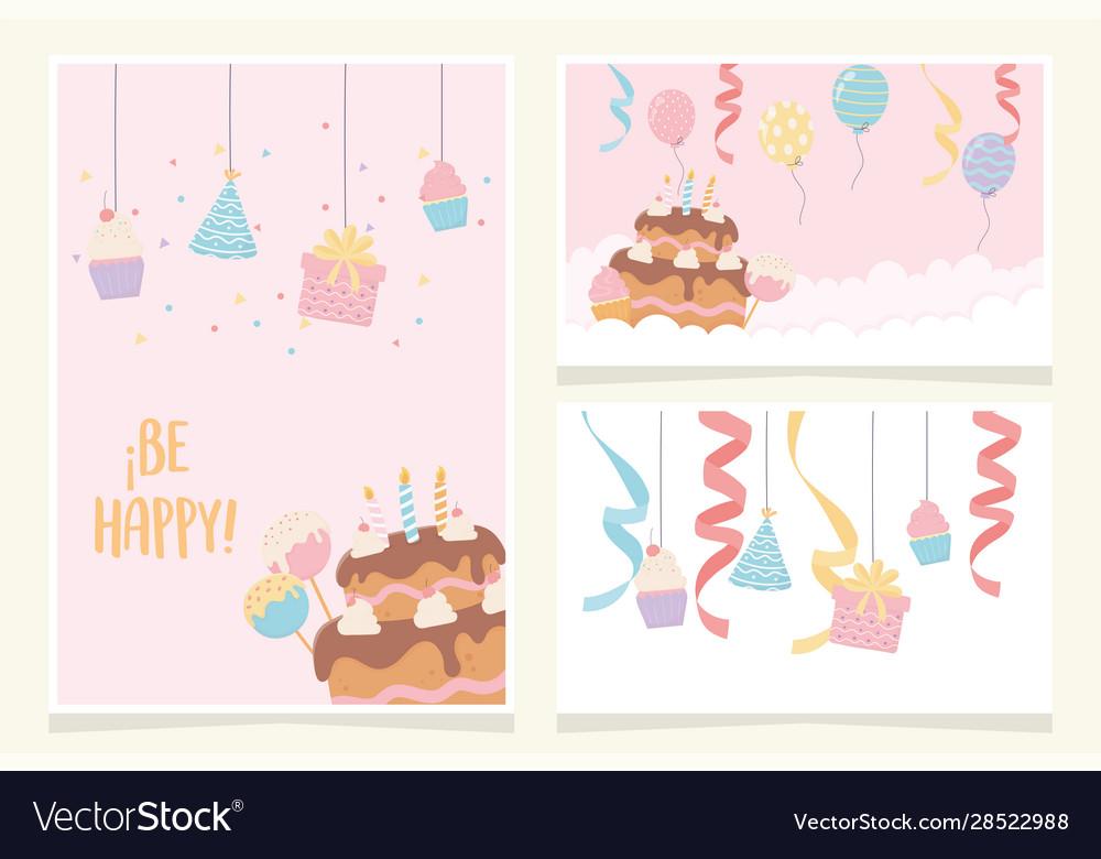 Birthday cake with candles ribbon balloons cupcake