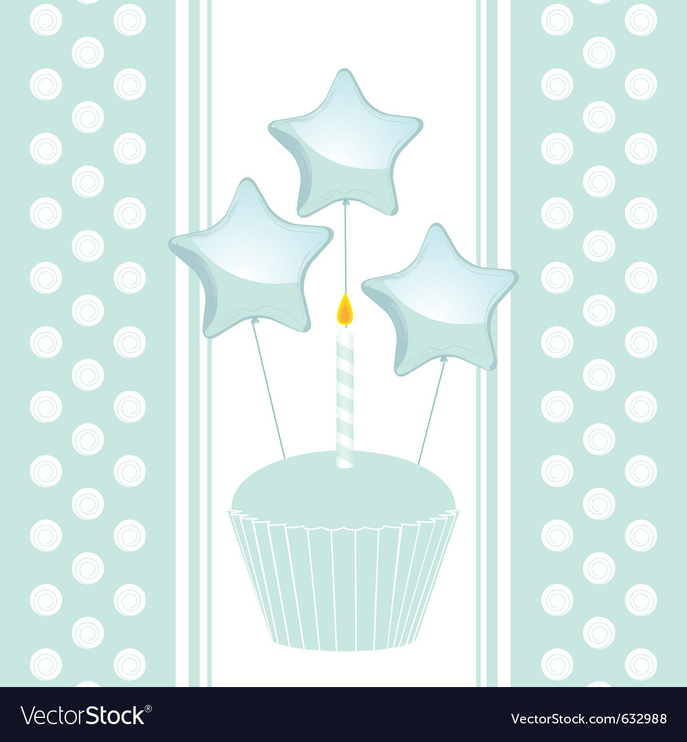 Blue birthday cupcake with candle and balloons on