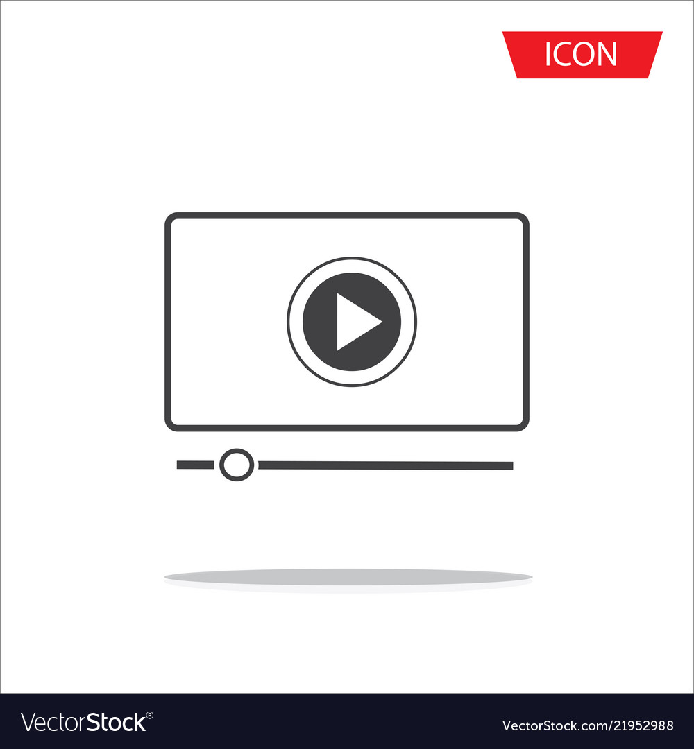 Button play video on desktop icon isolated on