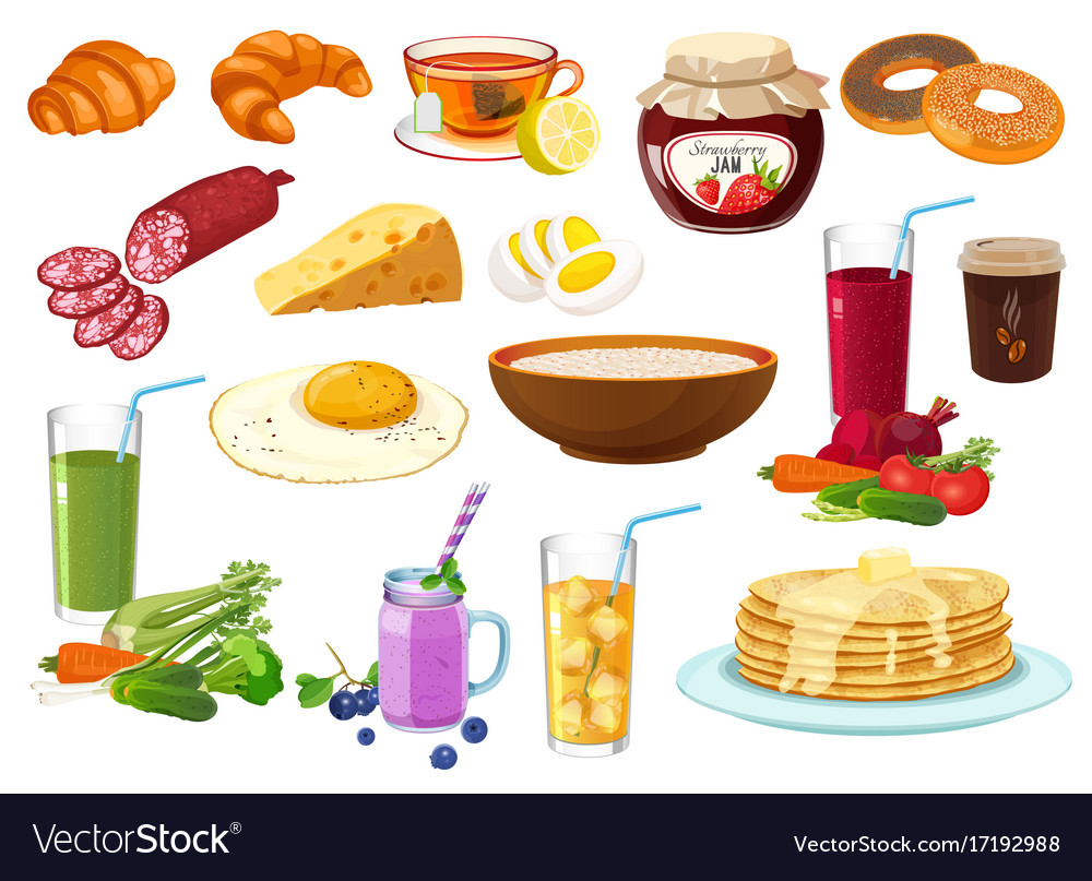 Collection of breakfast food icon isolated vector image
