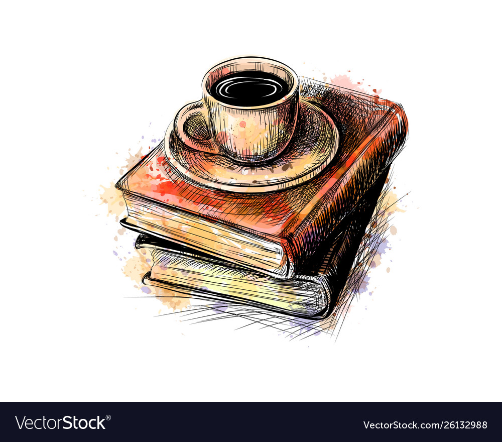 Composition a stack books and a cup of