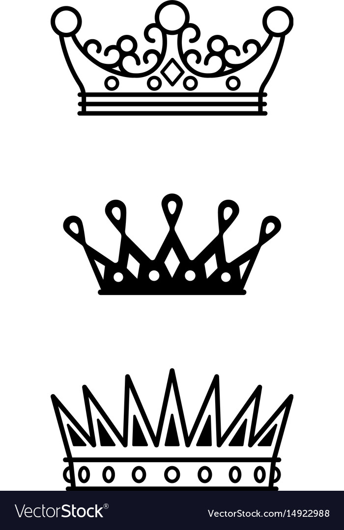 Crowns black line icons collection