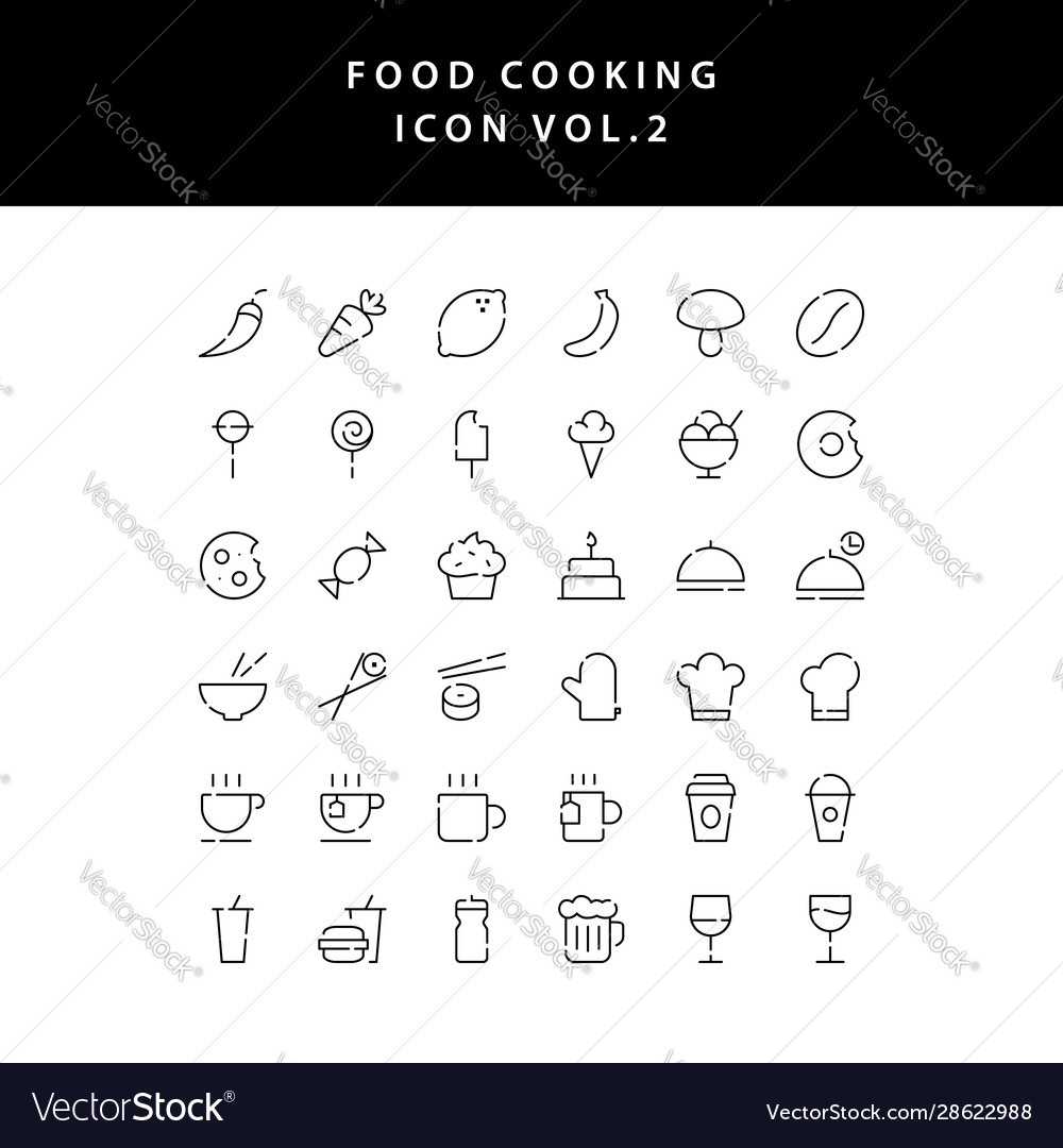 Food cooking icon set outline set vol 2
