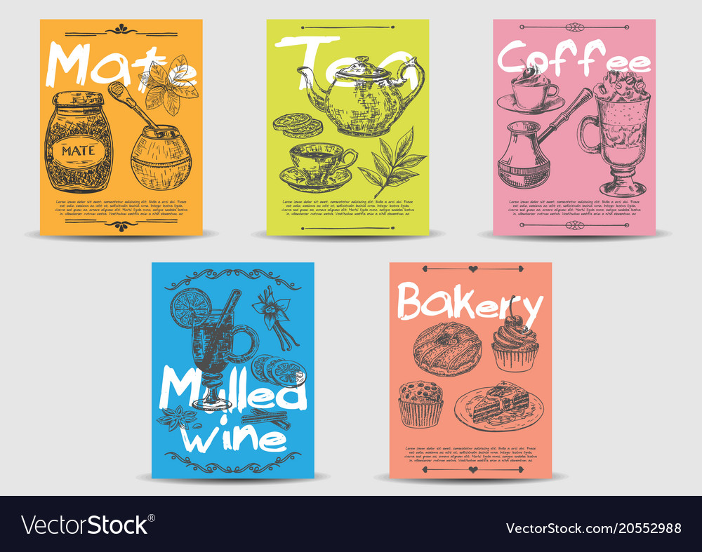 Hot Drink Card Template Set Hand Drawn Vector Image