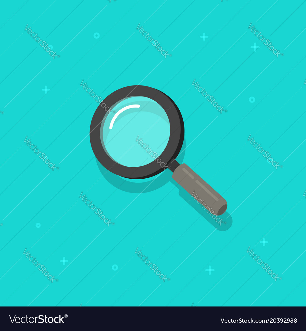 Magnifying glass icon flat cartoon