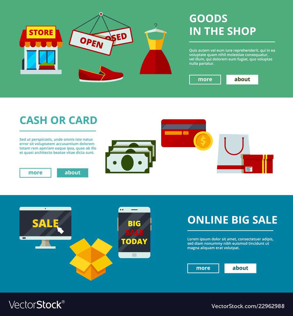 Online Shopping Banners E Commerce Web Store Vector Image