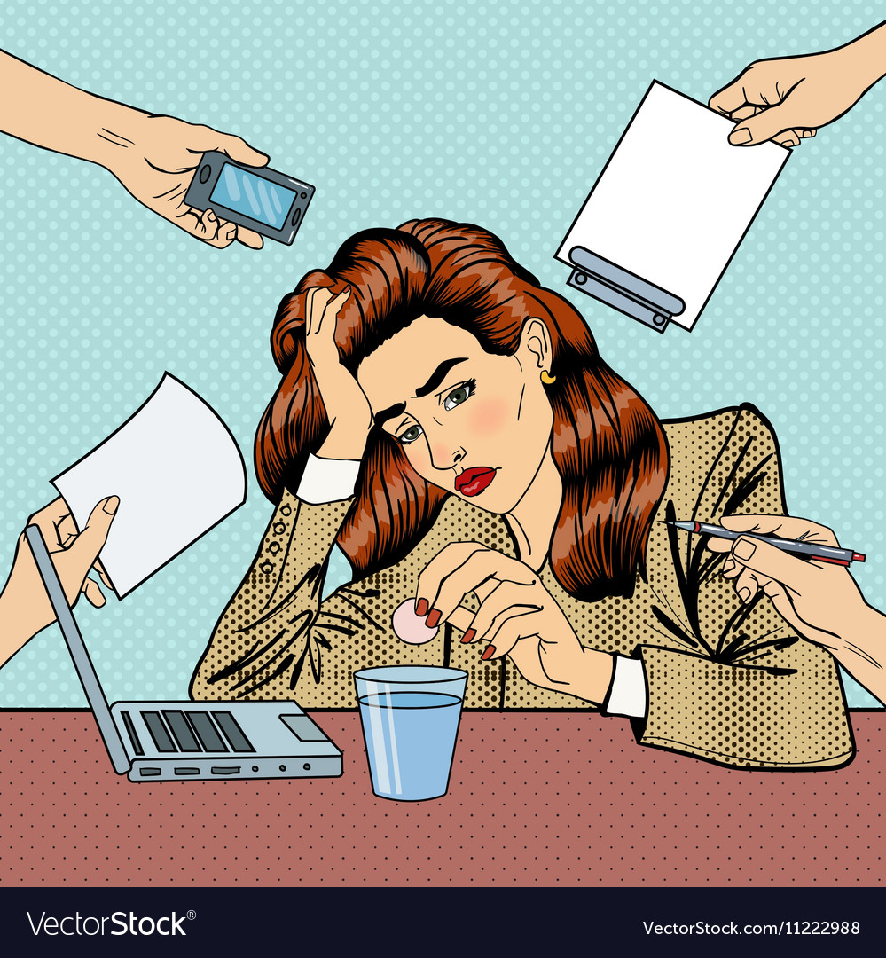 Pop Art Business Woman Drinking Pills at Office vector image