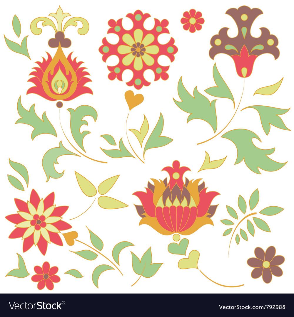 Set of retro flower elements vector image
