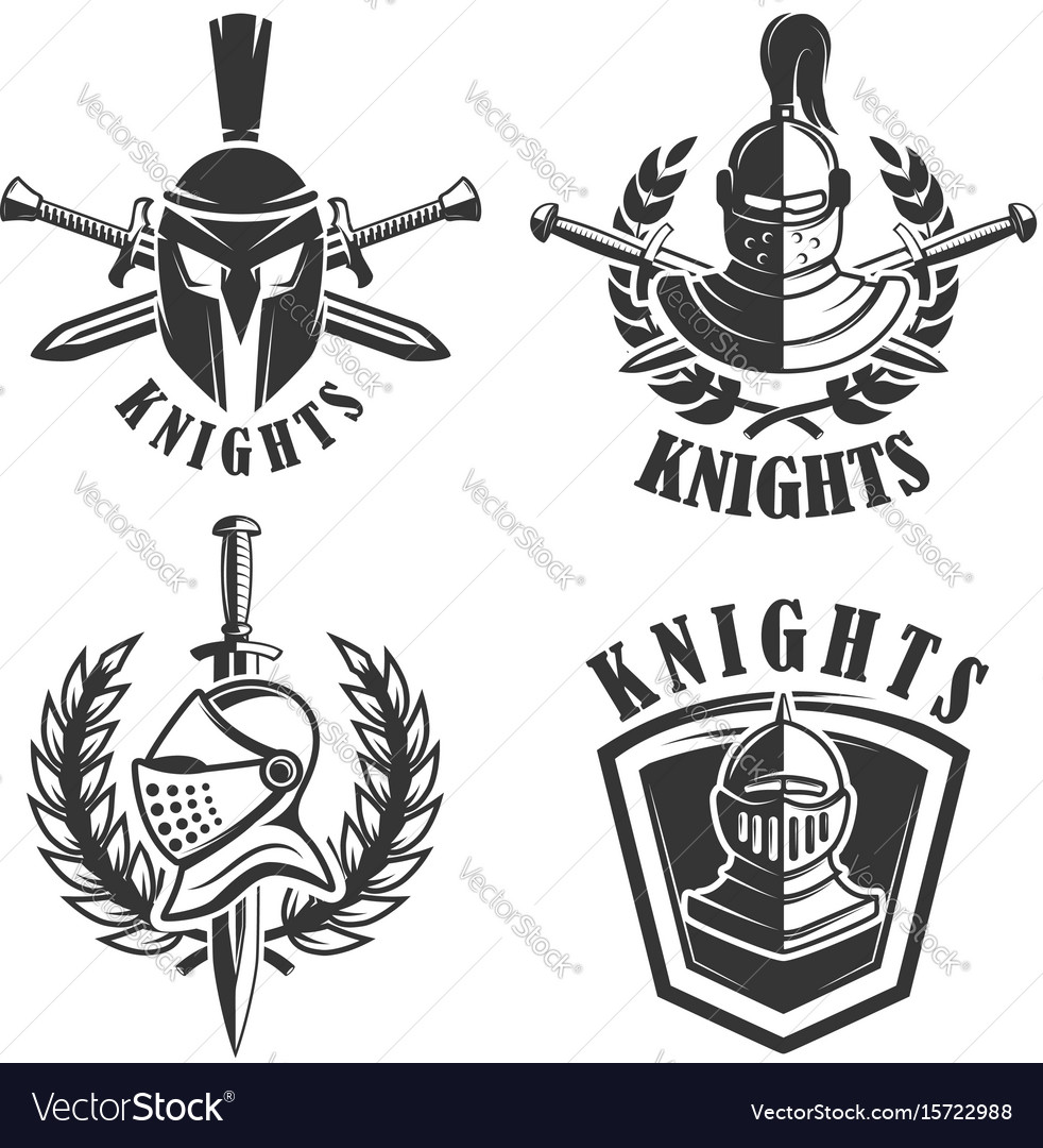 Set of the emblems with knights helmets and
