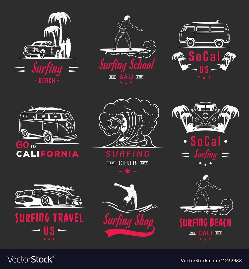 Set Surf Badges Sign and Logos