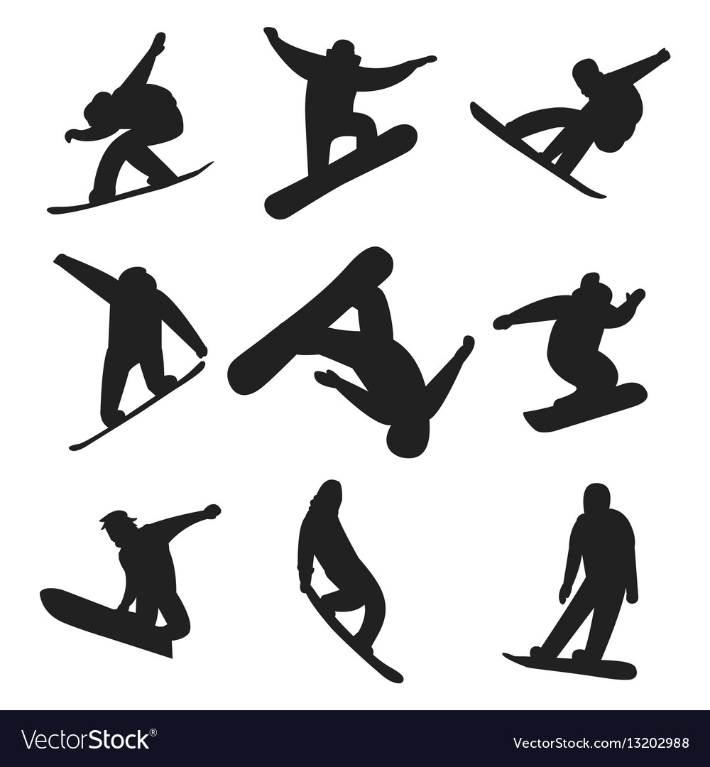 Snowboarder jump in different pose silhouette