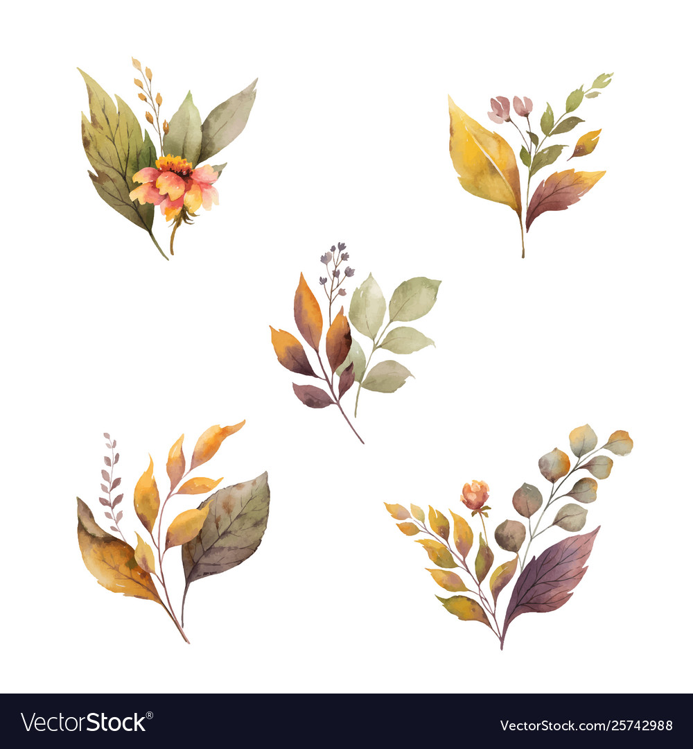 Watercolor autumn set with leaves and