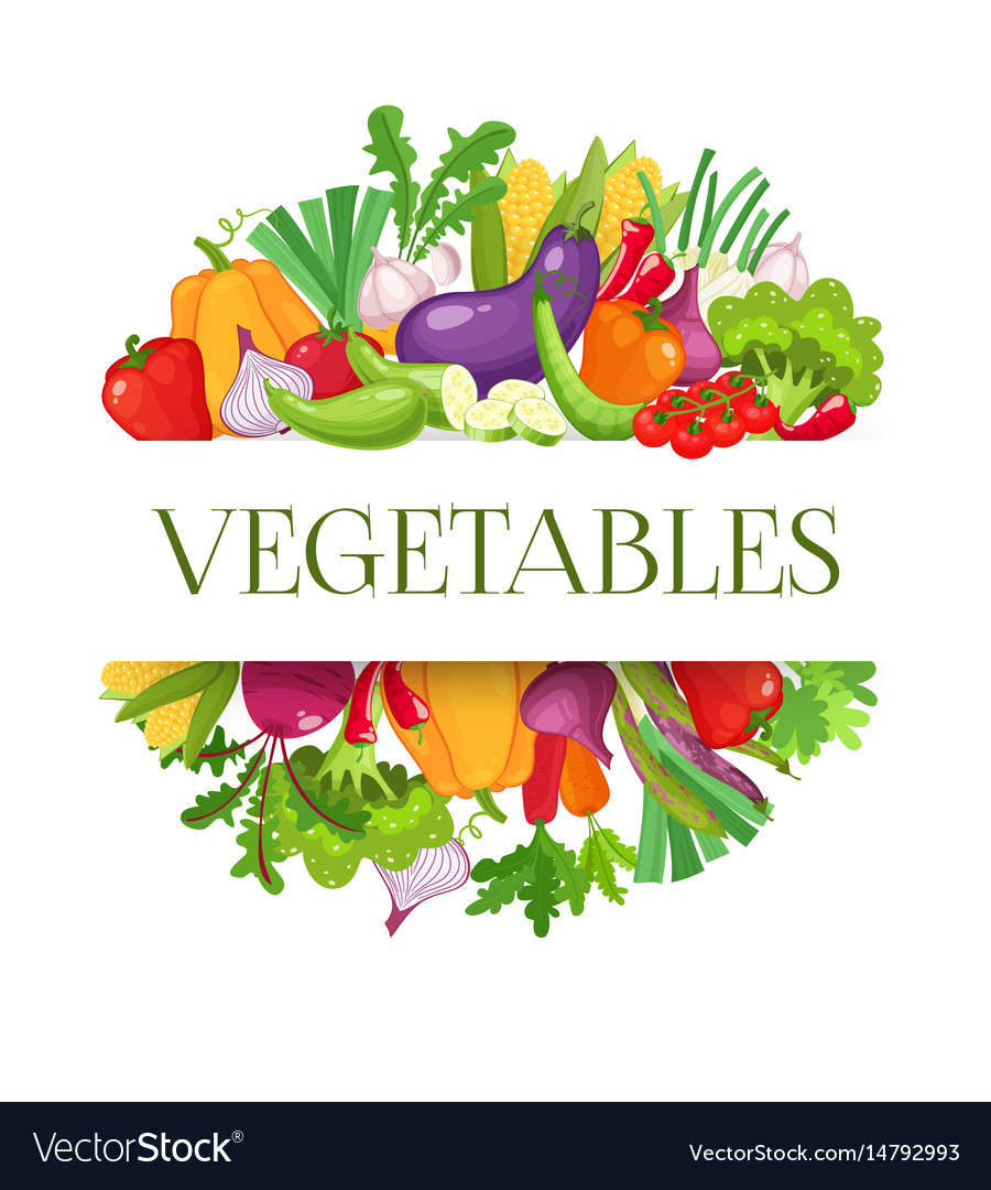 Banner round composition with colorful vegetables