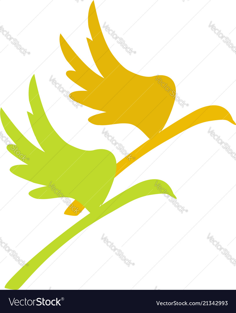 Birds on a branch abstract icon