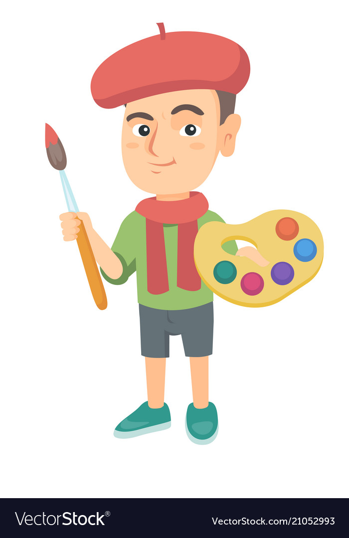 Boy dressed as an artist holding brush and paints