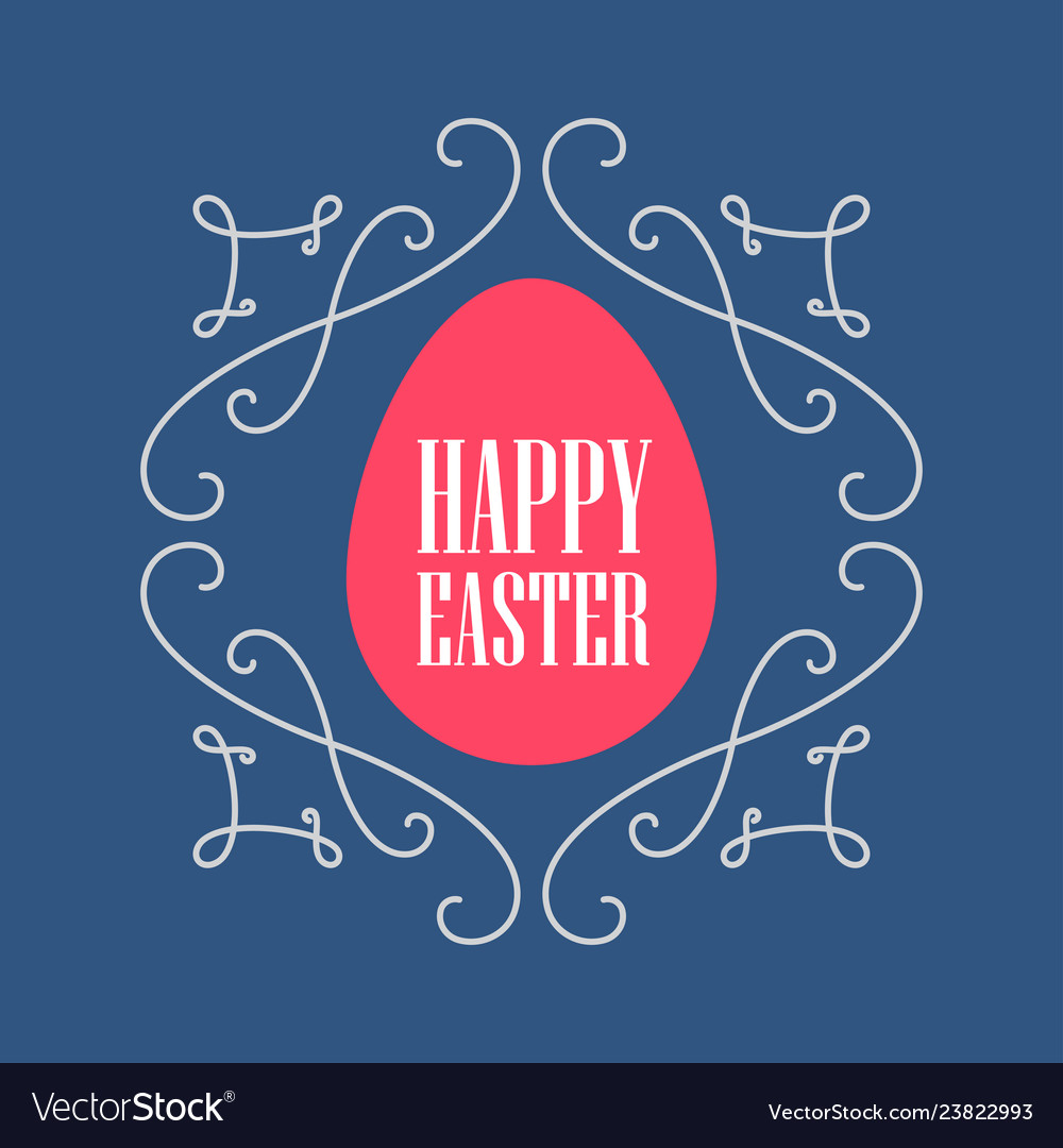 Happy easter - greeting card with floral line art