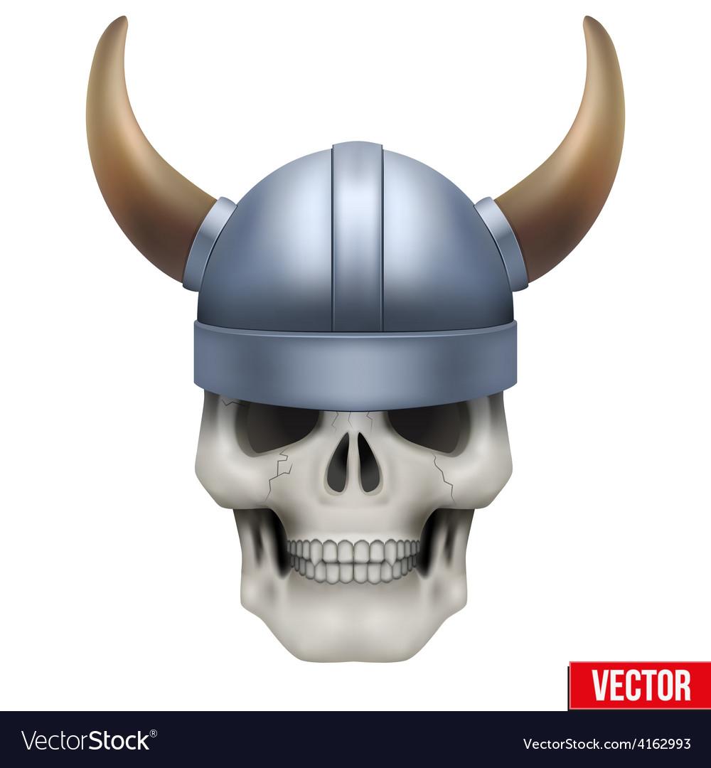 Human skull with viking helmet