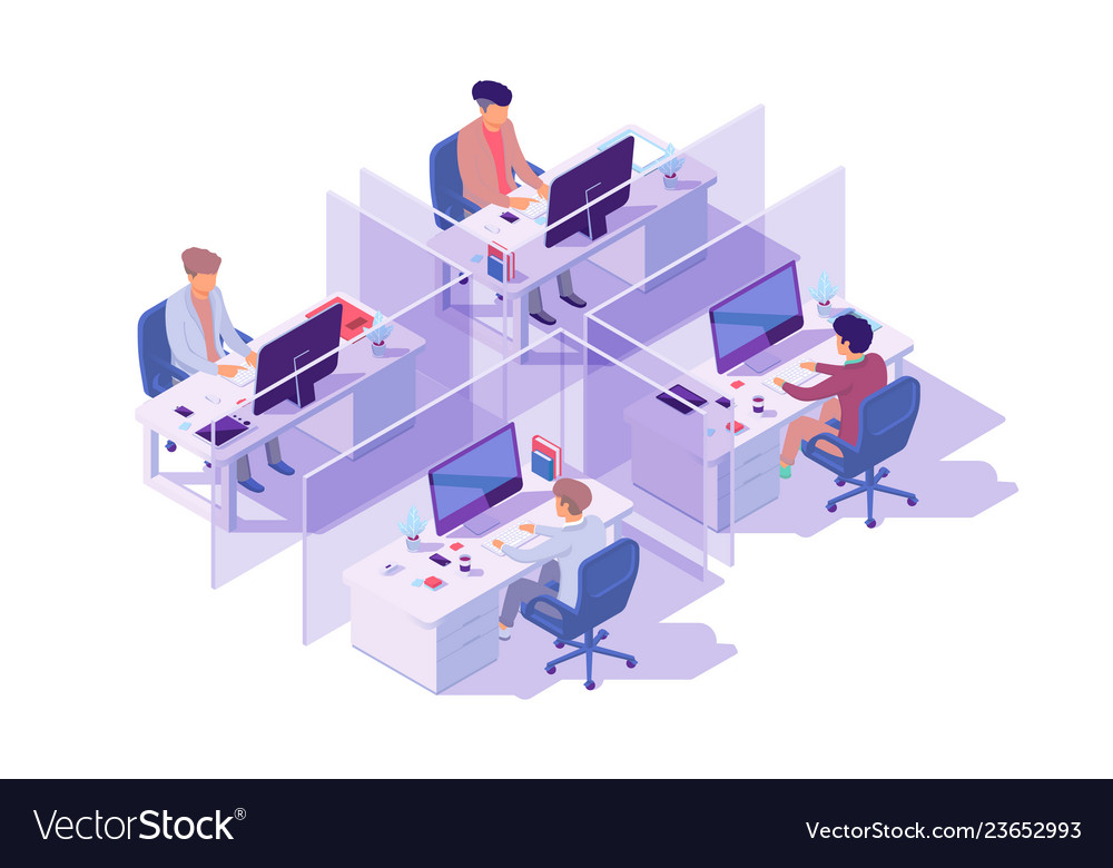 Isometric 3d workplace with four sections and