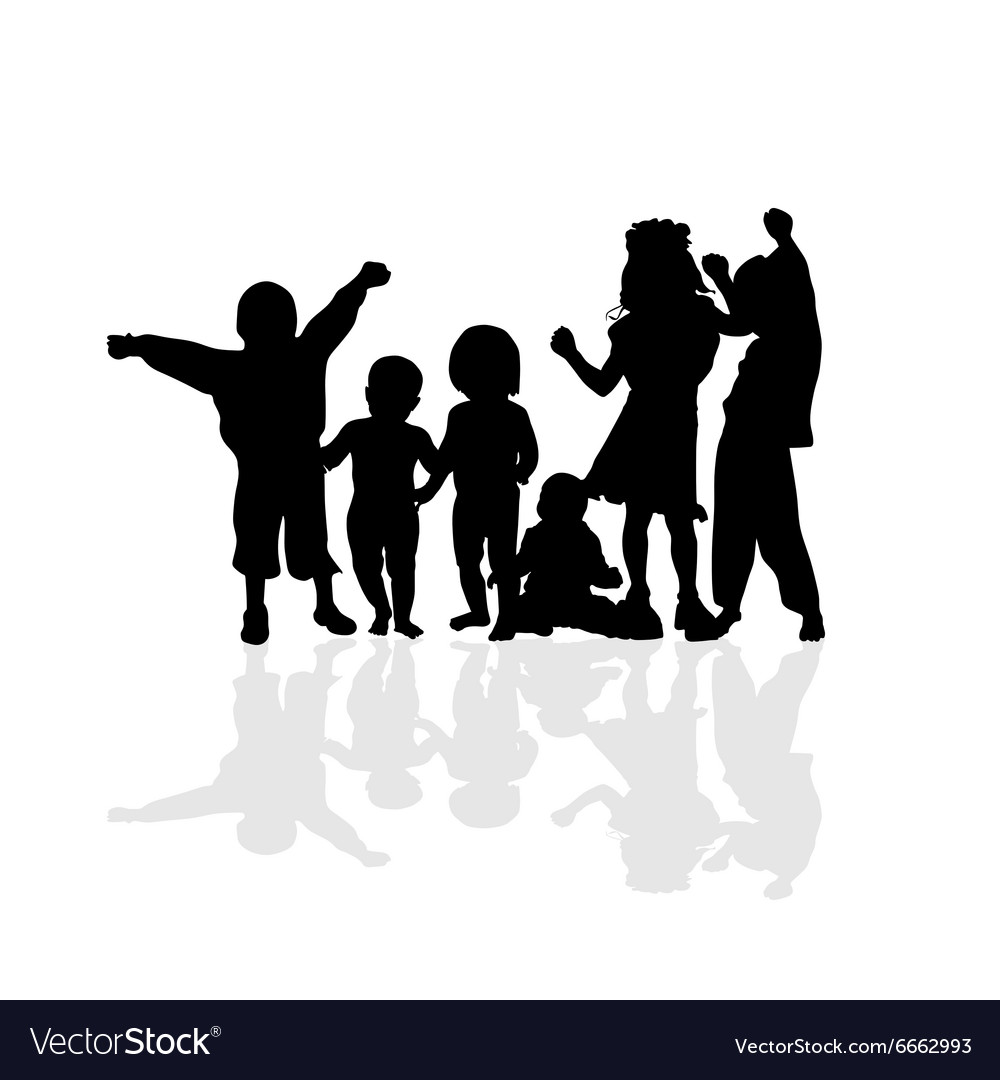 Kids happy silhouette