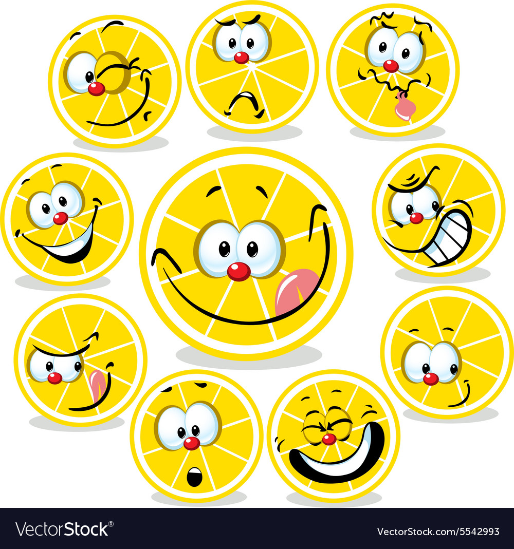 Lemon icon cartoon with funny faces isolated on