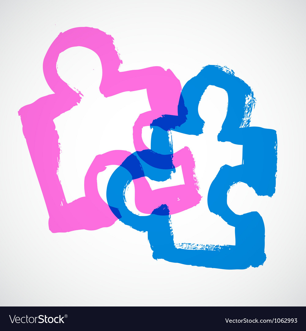Puzzle Ink Hand Drawn Symbols vector image