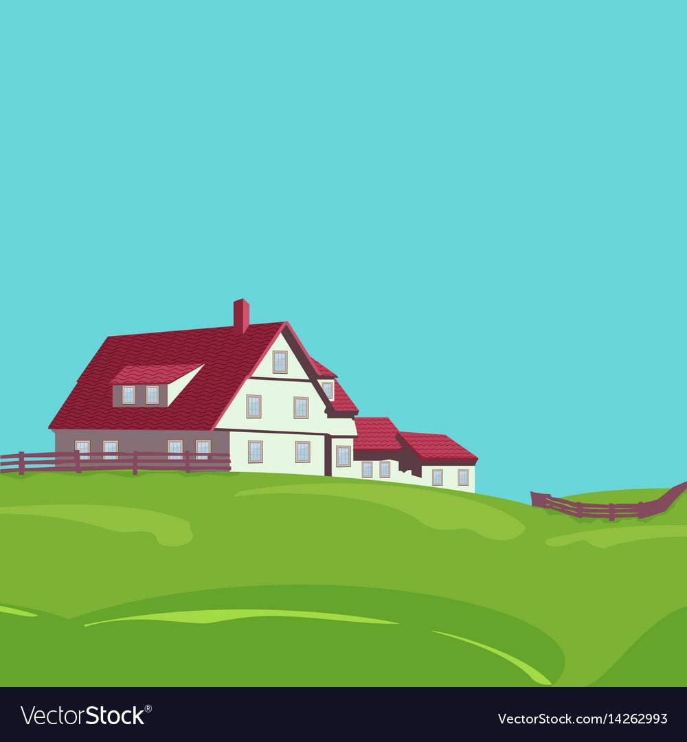 Rural landscape with villa vector image