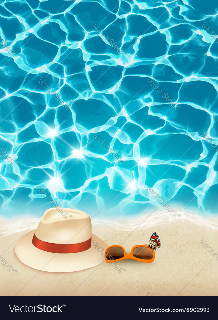 Vacation background with blue sea a hat and