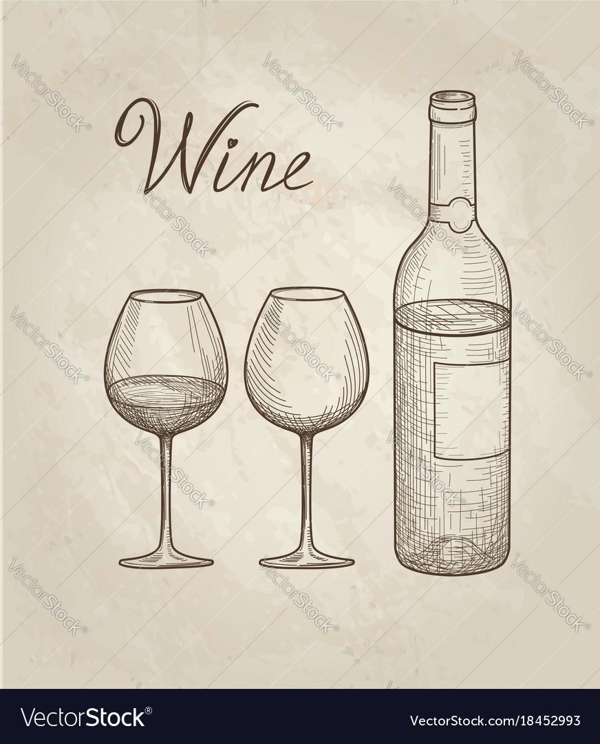 Wine set wine glass bottle lettering vineyard