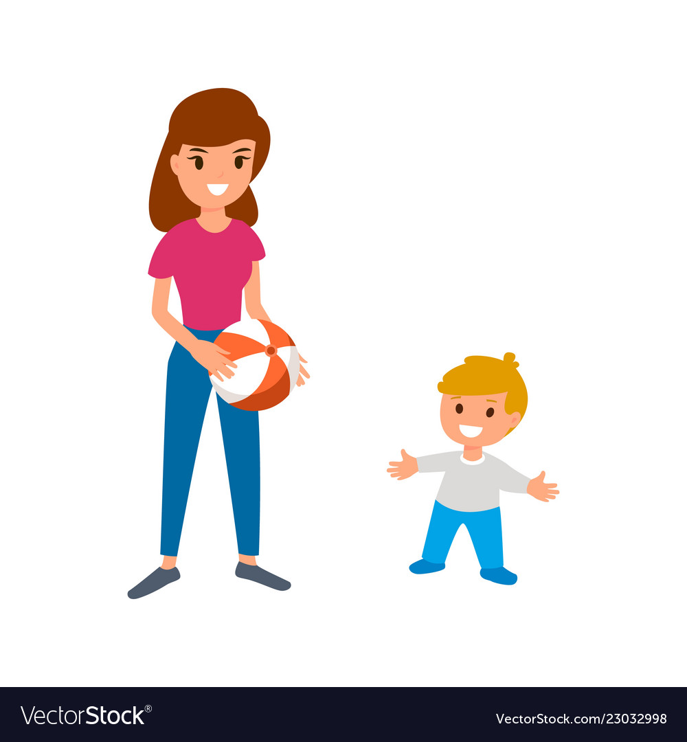 A babysitter or nanny is playing the ball with the